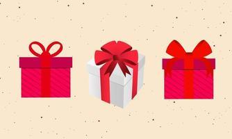Packung Geschenkboxen mit Band vektor
