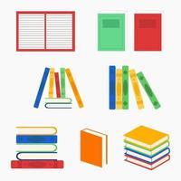 bunte Bücher in verschiedenen Positionen vektor
