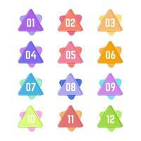 bunte geometrische Dreieckkugelpunkte von eins bis zwölf vektor