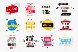Verkaufsabzeichen und Etikettensammlung vektor