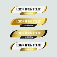 goldene Web-Banner-Sammlung im unteren Drittel vektor
