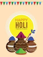 glad holi indisk festival flygblad eller affisch design vektor