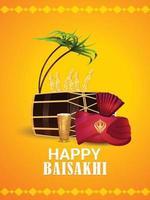 glad vaisakhi firande affisch eller flygblad designkoncept vektor