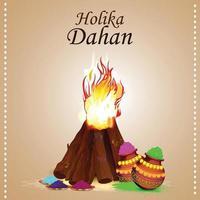 holika dehan kreativer hintergrund mit realistischem knochenfeuer
