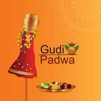 gudi padwa firande bakgrund med traditionell kruka vektor