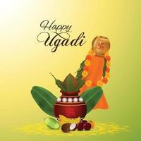Gudi Padwa Feier Hintergrund mit traditionellem Topf