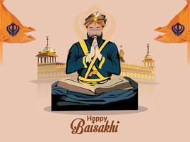 glücklicher Vaisakhi Festivalhintergrund mit kreativer Illustration vektor