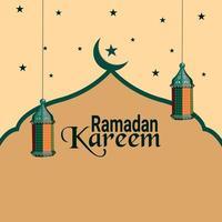 flaches Design und Ramadan Kareem Hintergrund vektor