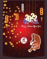 frohes chinesisches neues jahr 2022 - jahr des tigers. Mond Neujahr Banner Design-Vorlage. vektor