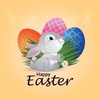 glad påsk gratulationskort och bakgrund vektor