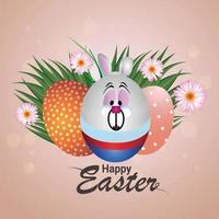 kreativt ägg och kanin av glad påskdag