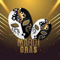 karneval eller mardi gras gratulationskort vektor