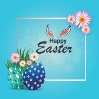 kreative Eier und Hase mit grünem Gras von fröhlichen Ostern