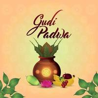 Gudi Padwa Feier Grußkarte und Hintergrund mit traditionellem Kalash vektor