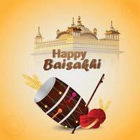 kreativer Hintergrund und Illustration des glücklichen Vaisakhi vektor