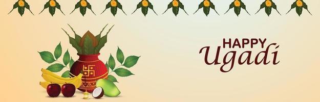 glad gudi padwa firande banner med realistiska kalash vektor