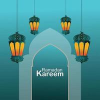 Ramadan Kareem Hintergrund mit goldenem Mond mit islamischer Laterne vektor