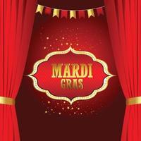 mardi gras firande med gyllene mask vektor