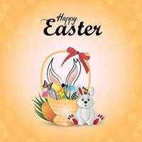 realistische Grußkarte des glücklichen Osters mit Ostereiern und Hase vektor
