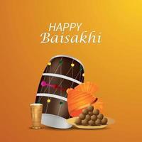 kreativer Hintergrund mit kreativer Trommel des glücklichen Vaisakhi