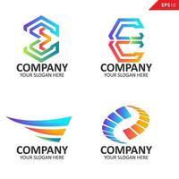 Sammlung bunte anfängliche e Brief Logo Design-Vorlage
