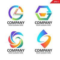 Sammlung bunte anfängliche g Brief Logo Design-Vorlage