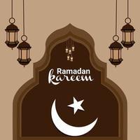 platt designkoncept av ramadan kareem med lykta vektor