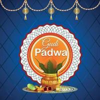 realistisk gudi padwa festival och abstrakt bakgrund vektor