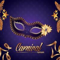 carnival party flyer eller inbjudningskort med kreativ mask vektor