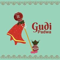gudi padwa eller glad ugadi gratulationskort med kalash