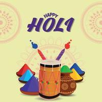 glad holi firande platt gratulationskort och bakgrund