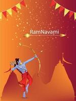 glad ram navami banner eller affisch med illustration av lord rama