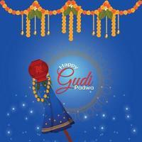 Gudi Padwa Hintergrund mit traditionellem Schlammtopf vektor