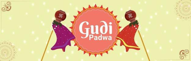 gudi padwa gratulationskort eller banner med traditionell kruka eller kalash