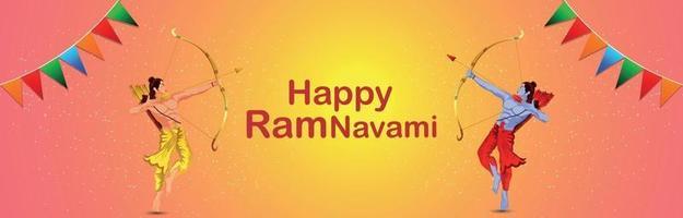 ramnavami firande banner med kreativ illustration av rama vektor
