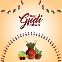 gratulationskort för gudi padwa firande med traditionell kalash