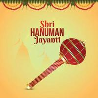 Shri Hanuman Jayanti Hintergrund mit Lord Hanuman Waffe
