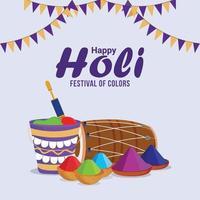 Happy Holi oder Holika Dehan mit kreativem Bonefire und Hintergrund