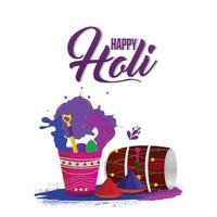 Happy Holi-Feier des indischen traditionellen Festivals mit kreativem Element und Hintergrund vektor