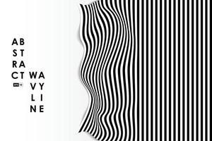 abstrakter Schwarzweiss-Wellenverzerrungs-Entwurfsabdeckungshintergrund. Verwendung für Anzeige, Poster, Grafik, Vorlage, Design, Druck. Illustrationsvektor eps10
