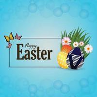 glücklicher Ostertagsfeierhintergrund mit Osterhase und Eiern