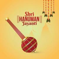 kreative Illustration von Hanuman Jayanti, feiert Hintergrund mit Lord Hanuman Waffe