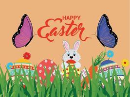glückliche Ostergrußkarte und Hintergrund