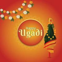 illustation av gudi padwa realistiskt gratulationskort med traditionell kalash