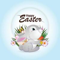 glückliche Ostergrußkarte mit niedlichem Osterhasen und Eiern vektor