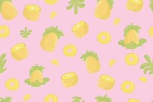 frisches nahtloses Muster der Ananasfrucht. Ananas und Blätter auf gelbem nahtlosem Muster. modernes tropisches exotisches Fruchtdesign für Geschenkpapier, Textil, Banner, Web, App. leuchtend saftige gelbe Ananasfrüchte und weiche grüne Blätter