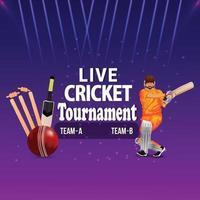 Cricket-Stadion-Hintergrund mit Cricketspieler-Illustration, die Ball schlägt