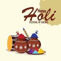Happy Holi Festival der Farbe mit bunten Gulal und Dhol vektor