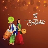 glad vaisakhi punjabi festival med illustration