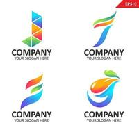 samling färgglada första j brev logotyp formgivningsmall
